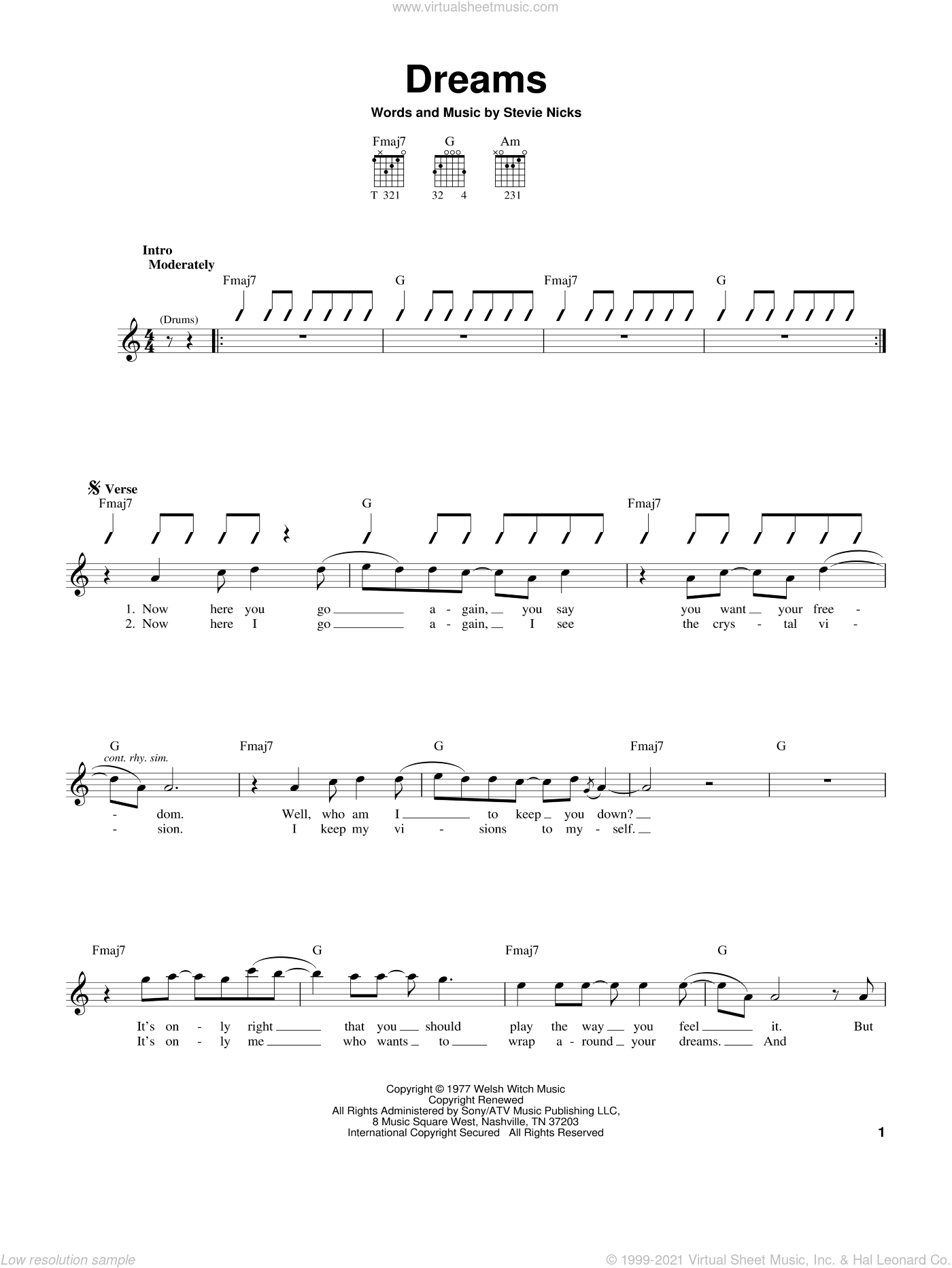 Dreams sheet music for guitar solo (chords) by Fleetwood Mac and Stevie Nicks, easy guitar (chords)
