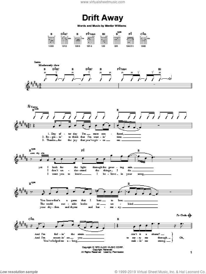 Gray - Drift Away sheet music for guitar solo (chords) [PDF]