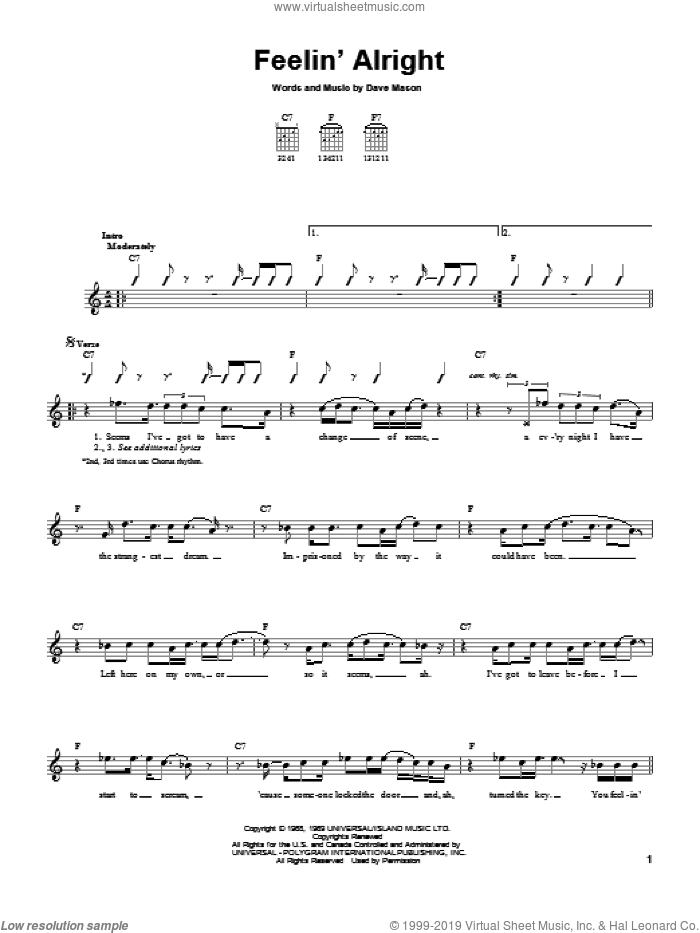 Feelin' Alright sheet music for guitar solo (chords) by Dave Mason