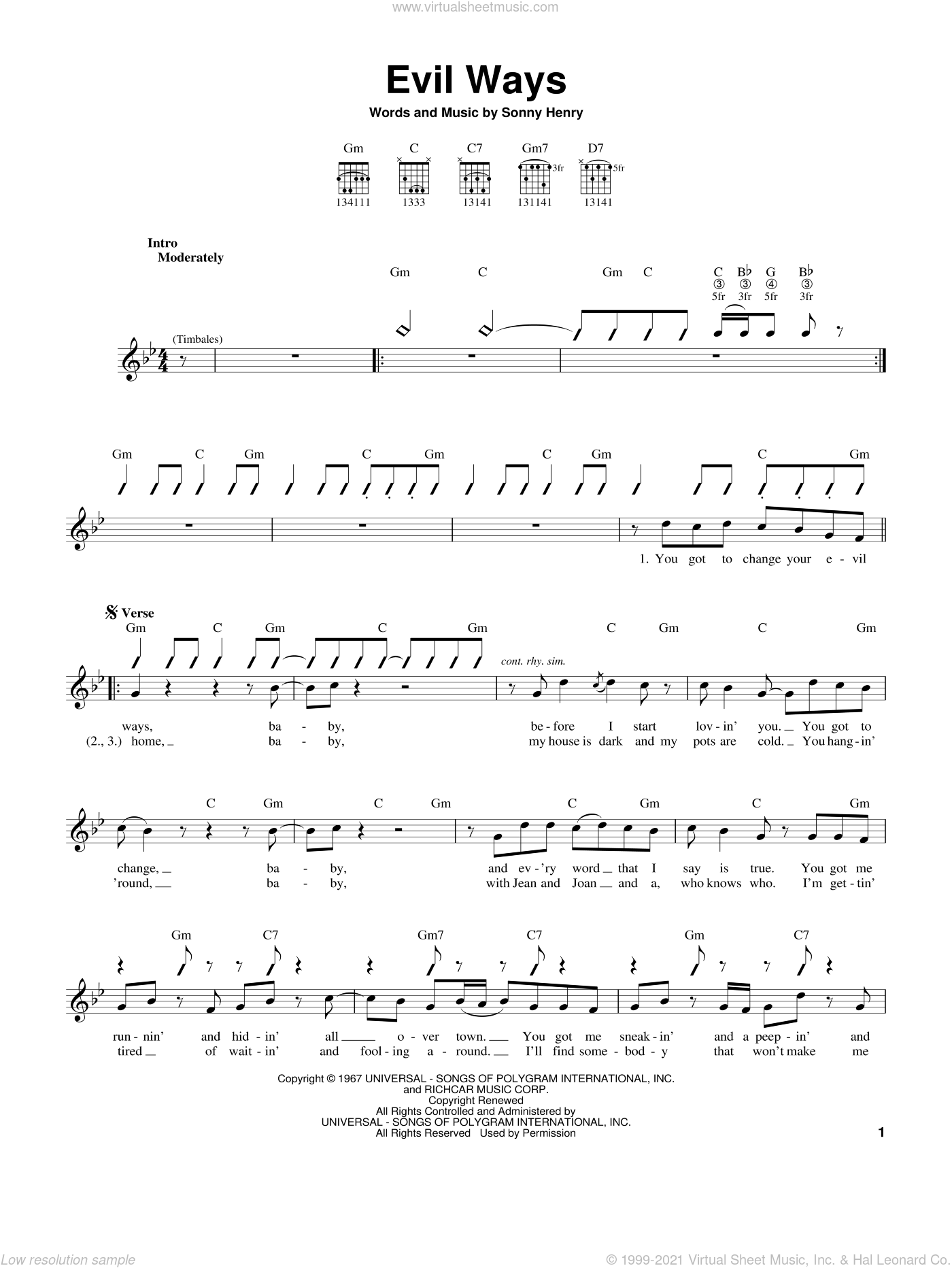 Evil Ways sheet music for guitar solo (chords) by Carlos Santana and Sonny Henry, easy guitar (chords)