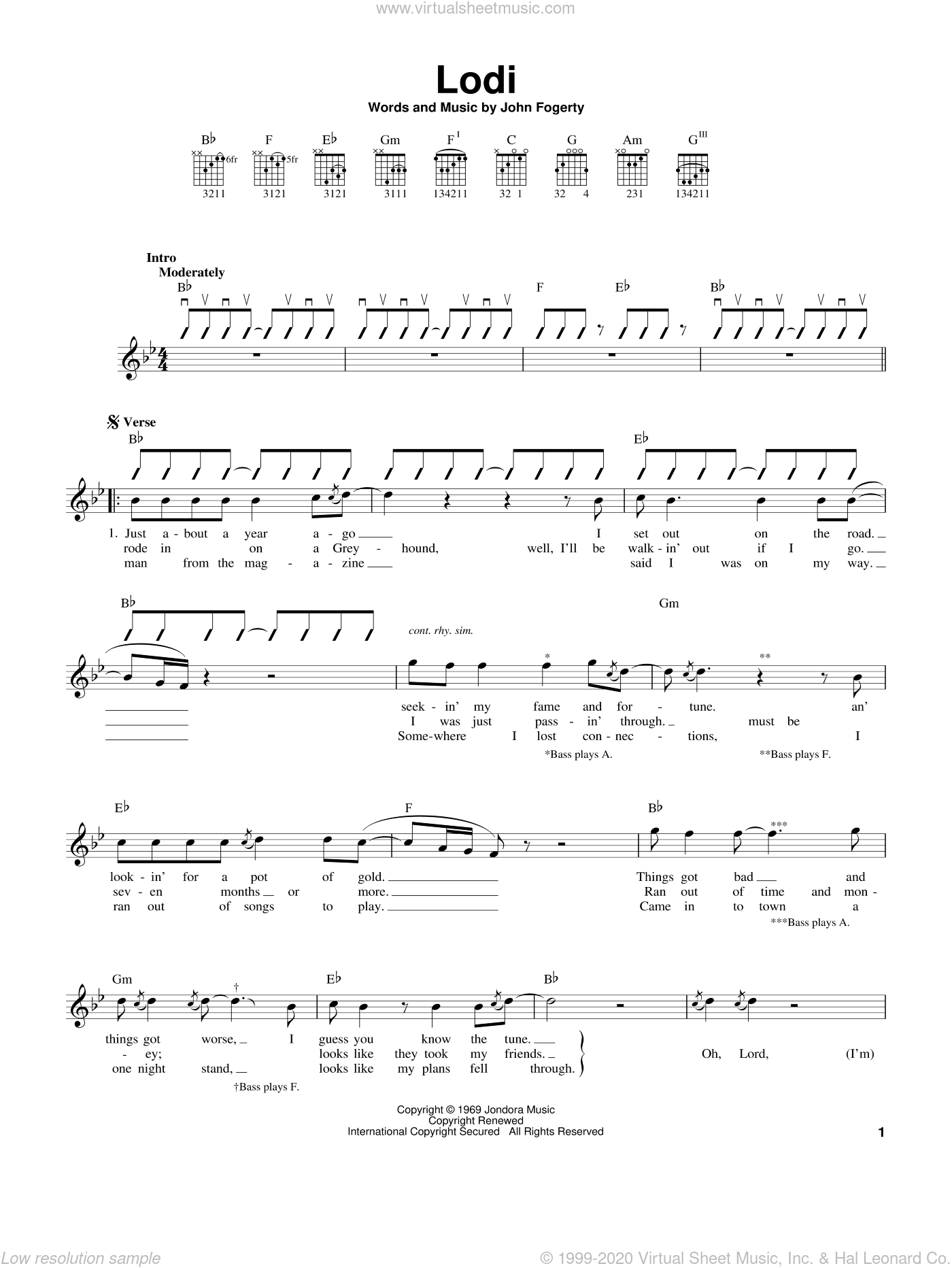 Revival - Lodi sheet music for guitar solo (chords) [PDF]