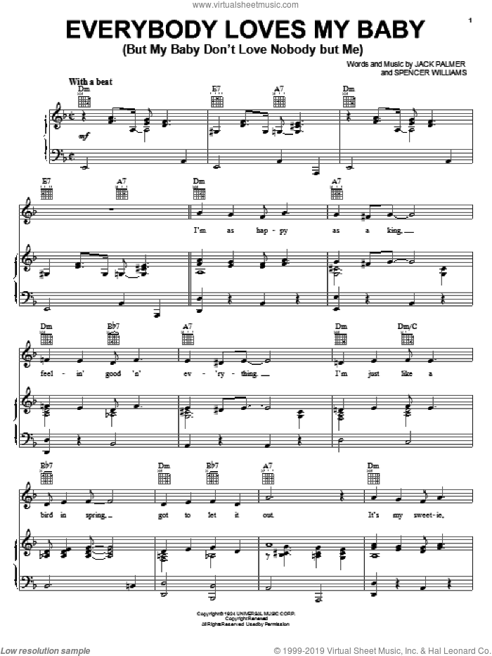 Everybody Loves My Baby (But My Baby Don't Love Nobody But Me) sheet music for voice, piano or guitar by Spencer Williams