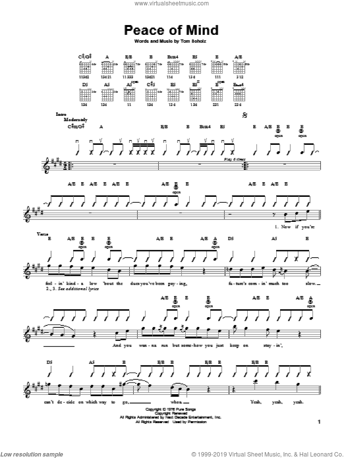 Peace Of Mind sheet music for guitar solo (chords) by Boston and Tom Scholz, easy guitar (chords)