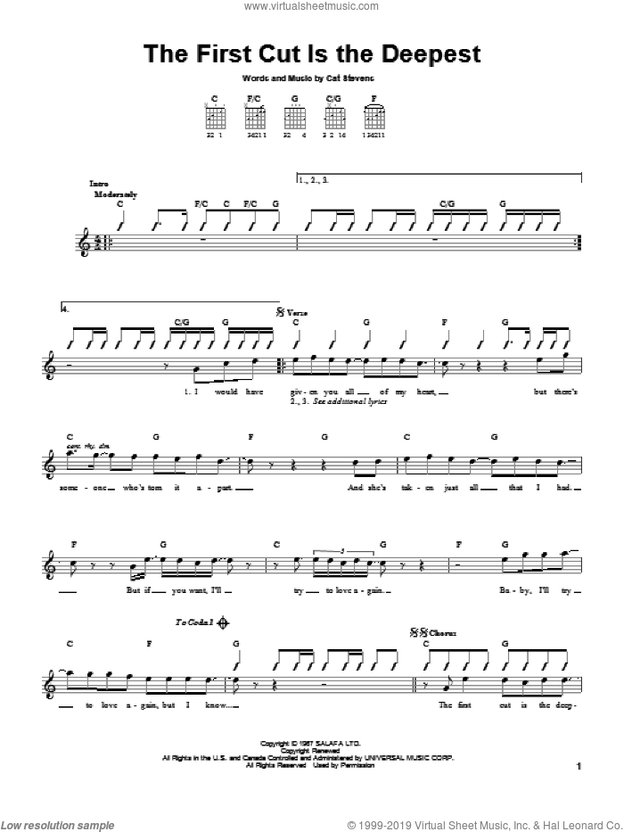 The First Cut Is The Deepest sheet music for guitar solo (chords) by Sheryl Crow, Rod Stewart and Cat Stevens, easy guitar (chords)