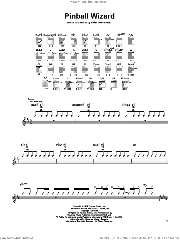 Pinball Wizard sheet music for guitar solo (chords) by Pete Townshend