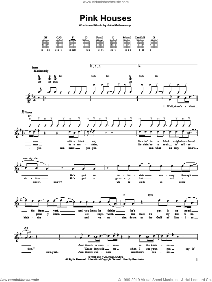 Pink Houses sheet music for guitar solo (chords) by John Mellencamp, easy guitar (chords). Score Image Preview.