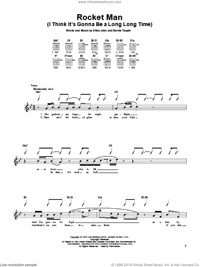 Rocket Man (I Think It's Gonna Be A Long Long Time) sheet music for guitar solo (chords) by Elton John and Bernie Taupin, easy guitar (chords). Score Image Preview.