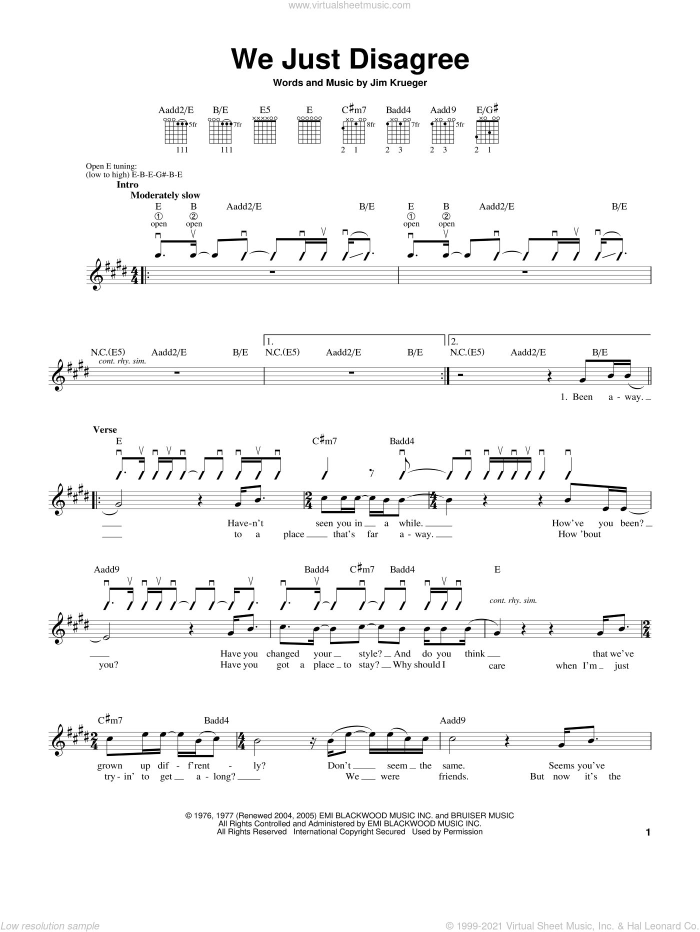 We Just Disagree sheet music for guitar solo (chords) by Jim Krueger, Billy Dean and Dave Mason. Score Image Preview.