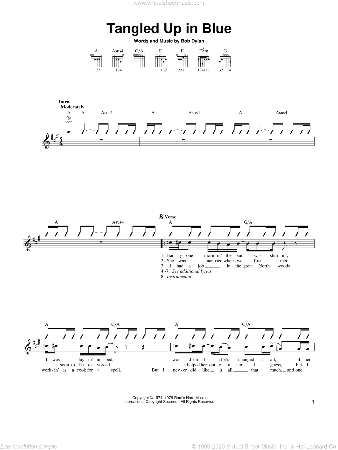 Tangled Up In Blue sheet music for guitar solo (chords) by Bob Dylan, easy guitar (chords)