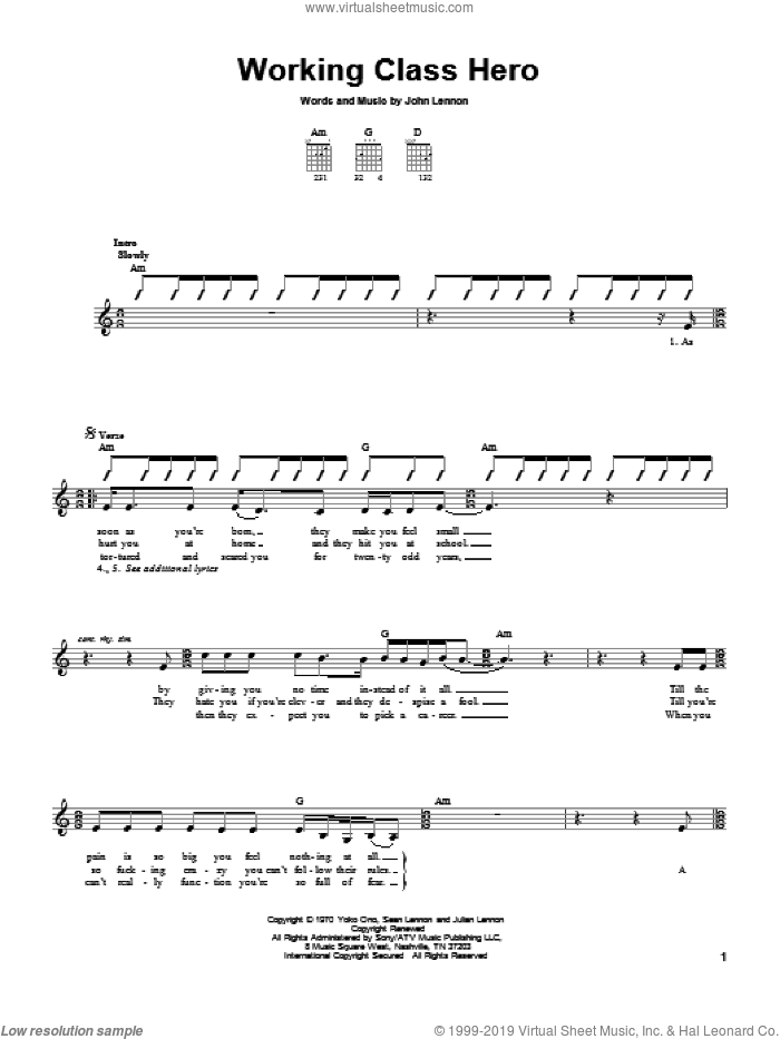 Working Class Hero sheet music for guitar solo (chords) by Green Day and John Lennon. Score Image Preview.