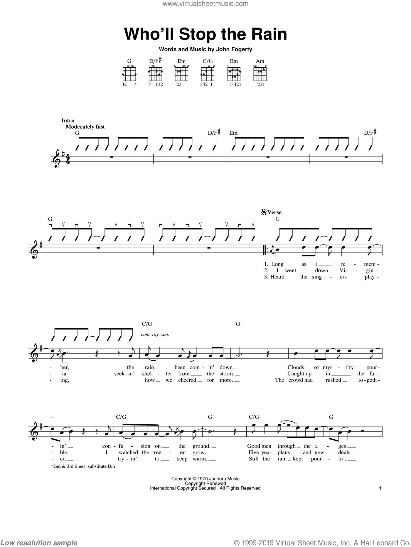 Who'll Stop The Rain sheet music for guitar solo (chords) by John Fogerty and Creedence Clearwater Revival. Score Image Preview.