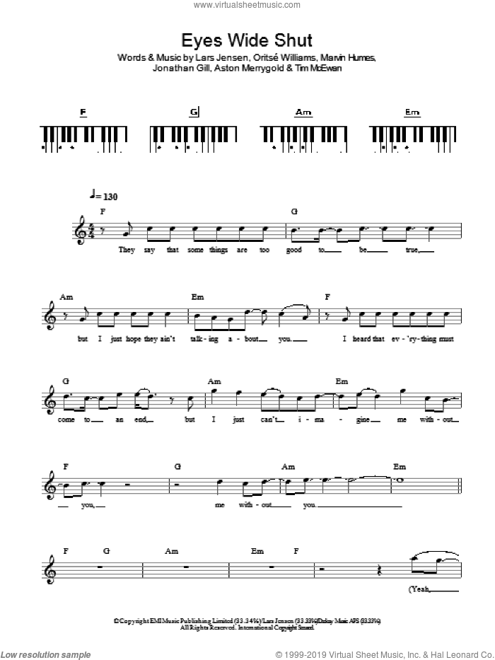 Eyes Wide Shut sheet music for piano solo (chords, lyrics, melody) by JLS. Score Image Preview.