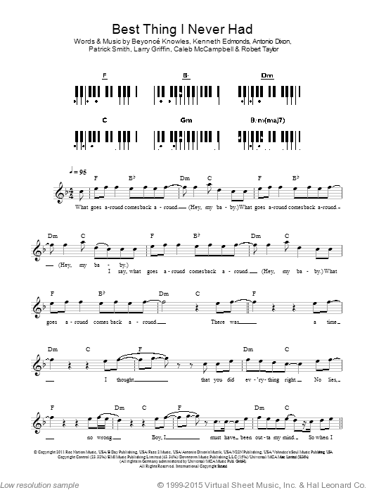 Best Thing I Never Had sheet music for piano solo (chords, lyrics, melody) by Robert Shea Taylor