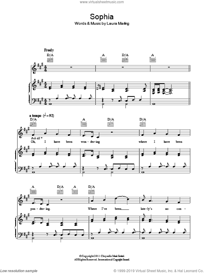 Sophia sheet music for voice, piano or guitar by Laura Marling, intermediate voice, piano or guitar. Score Image Preview.