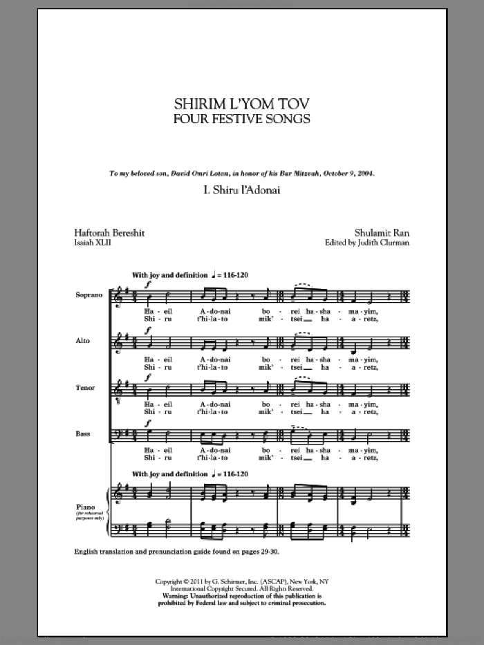 Shirim L'Yom Tov: Four Festive Songs sheet music for choir and piano (SATB) by Shulamit Ran and Judith Clurman. Score Image Preview.