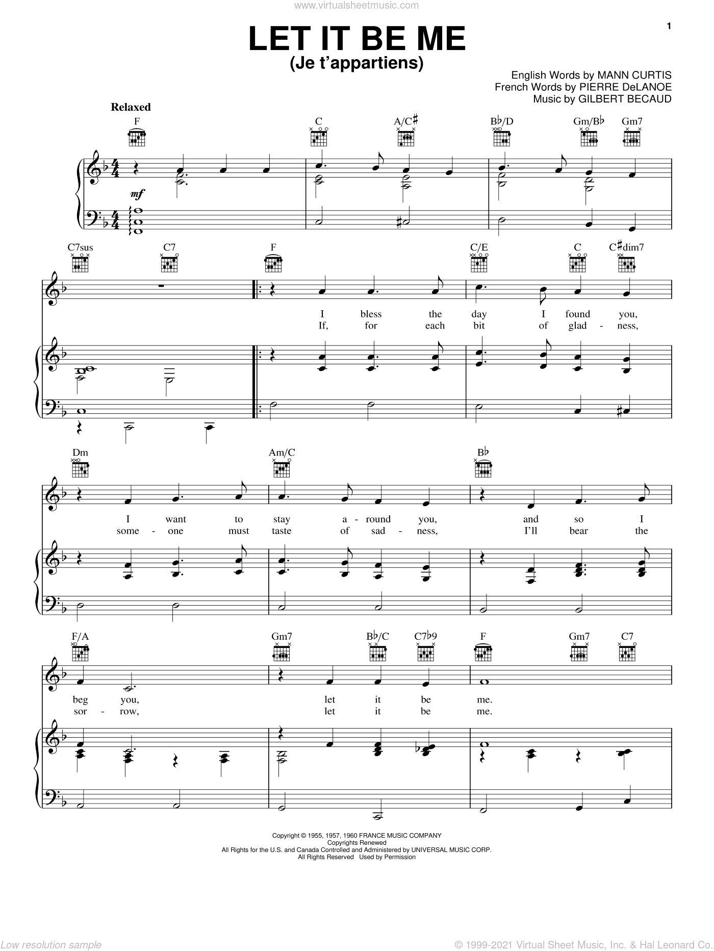 Let It Be Me (Je T'appartiens) sheet music for voice, piano or guitar by Pierre Delanoe, Elvis Presley, Gilbert Becaud and Mann Curtis. Score Image Preview.