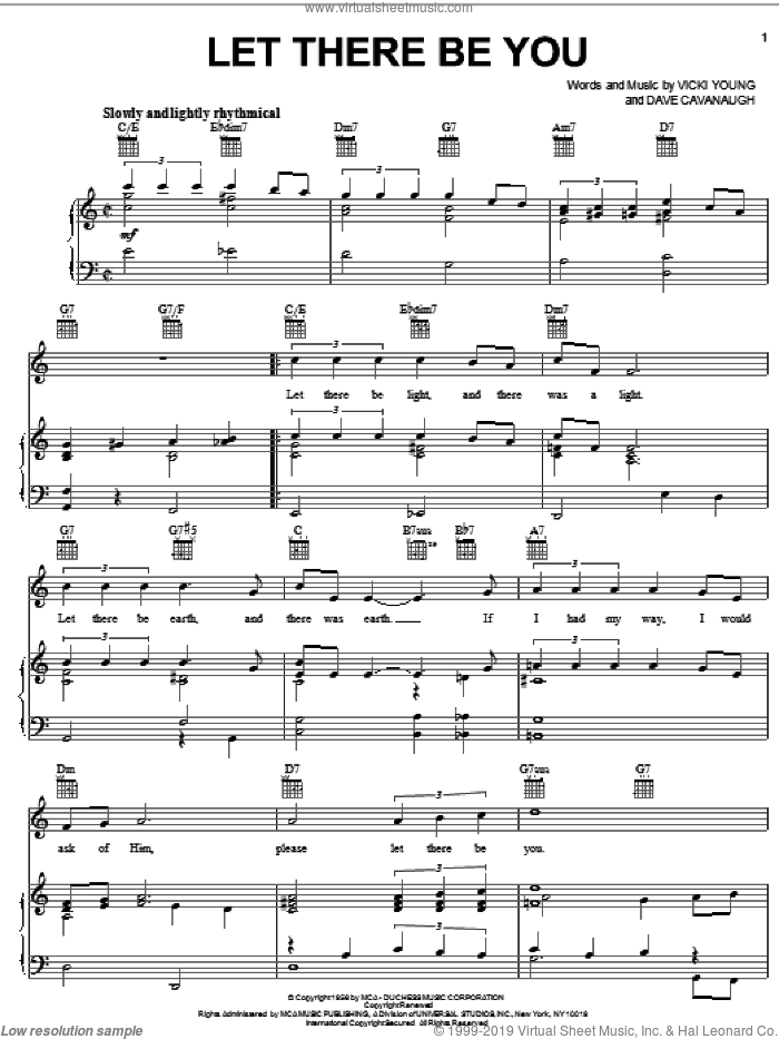Let There Be You sheet music for voice, piano or guitar by Victor Young and Dave Cavanaugh