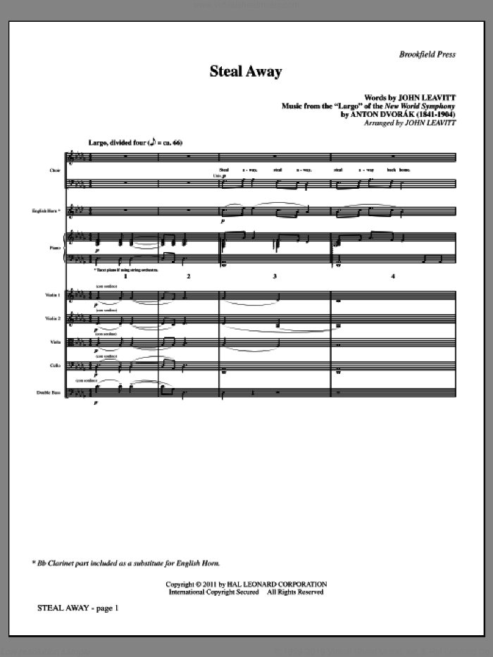Steal Away (complete set of parts) sheet music for orchestra/band (chamber ensemble) by Antonin Dvorak and John Leavitt, intermediate orchestra/band (chamber ensemble). Score Image Preview.