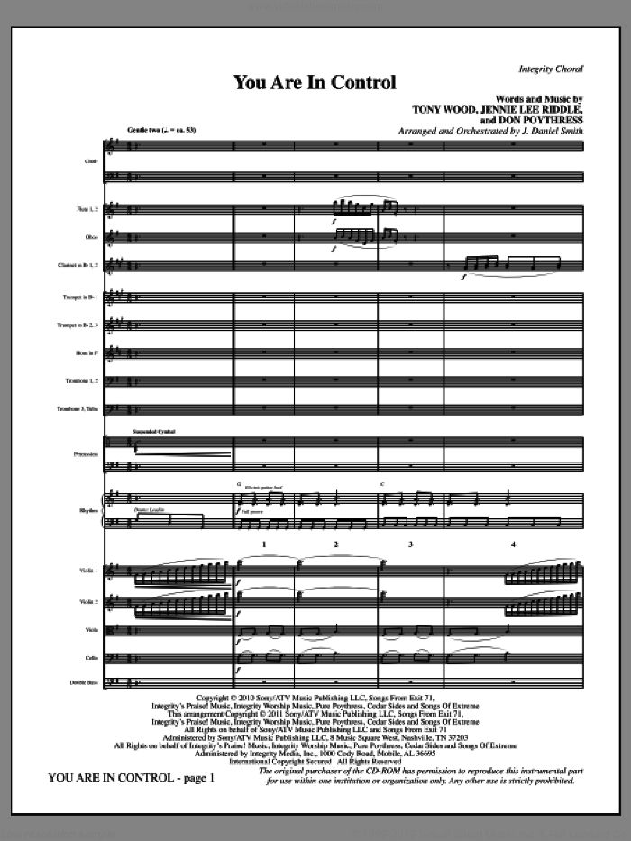 You Are In Control (complete set of parts) sheet music for orchestra/band (Orchestra) by Tony Wood, Don Poythress, J. Daniel Smith and Jennie Lee Riddle, intermediate