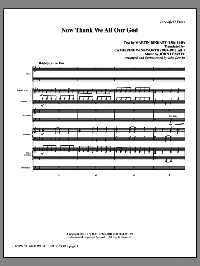 Now Thank We All Our God (complete set of parts) sheet music for orchestra/band (Orchestra) by John Leavitt and Martin Rinkart, intermediate. Score Image Preview.