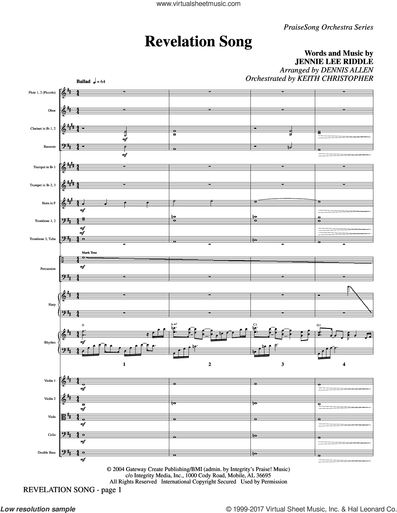 Revelation Song (complete set of parts) sheet music for orchestra/band (Orchestra) by Jennie Lee Riddle, Dennis Allen and Keith Christopher, intermediate skill level