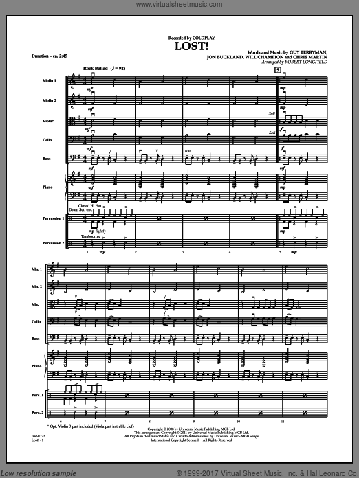 Lost! (COMPLETE) sheet music for orchestra by Chris Martin