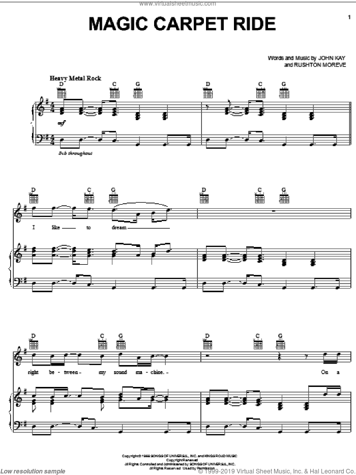 Magic Carpet Ride sheet music for voice, piano or guitar by Steppenwolf, intermediate voice, piano or guitar. Score Image Preview.