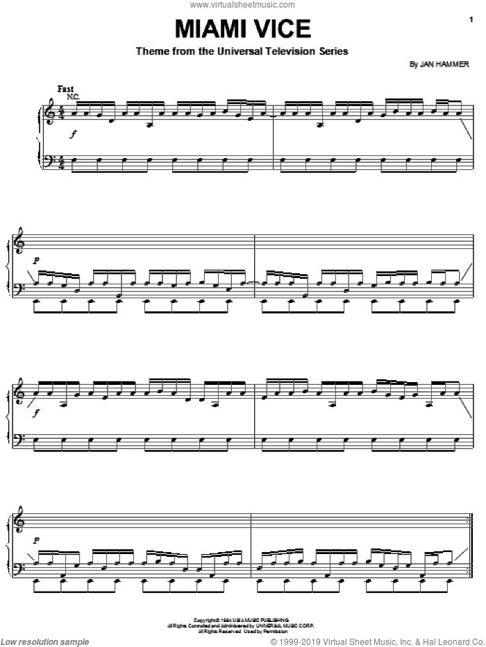 Miami Vice sheet music for piano solo by Jan Hammer, intermediate skill level
