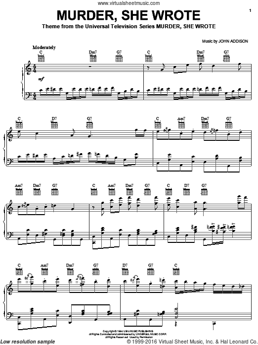 Murder, She Wrote sheet music for piano solo by John Addison, intermediate piano. Score Image Preview.