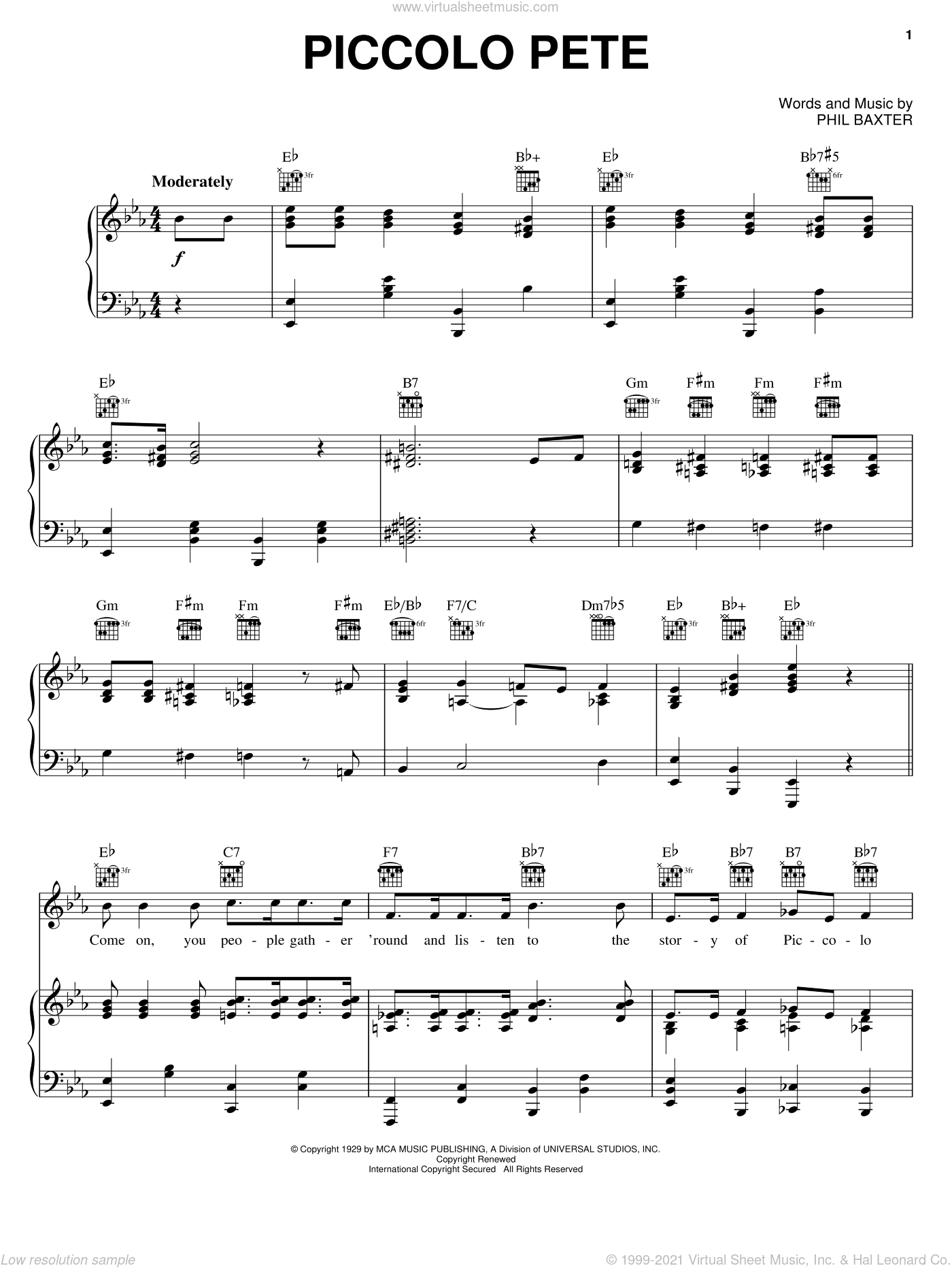 Piccolo Pete sheet music for voice, piano or guitar by Ted Weems and Phil Baxter. Score Image Preview.