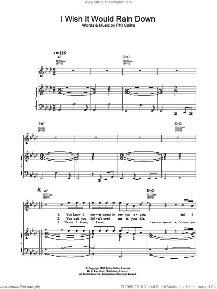I Wish It Would Rain Down sheet music for voice, piano or guitar by Phil Collins, intermediate. Score Image Preview.