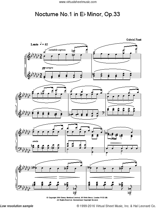 Nocturne No.1 in Eb Minor, Op.33 sheet music for piano solo by Gabriel Faure