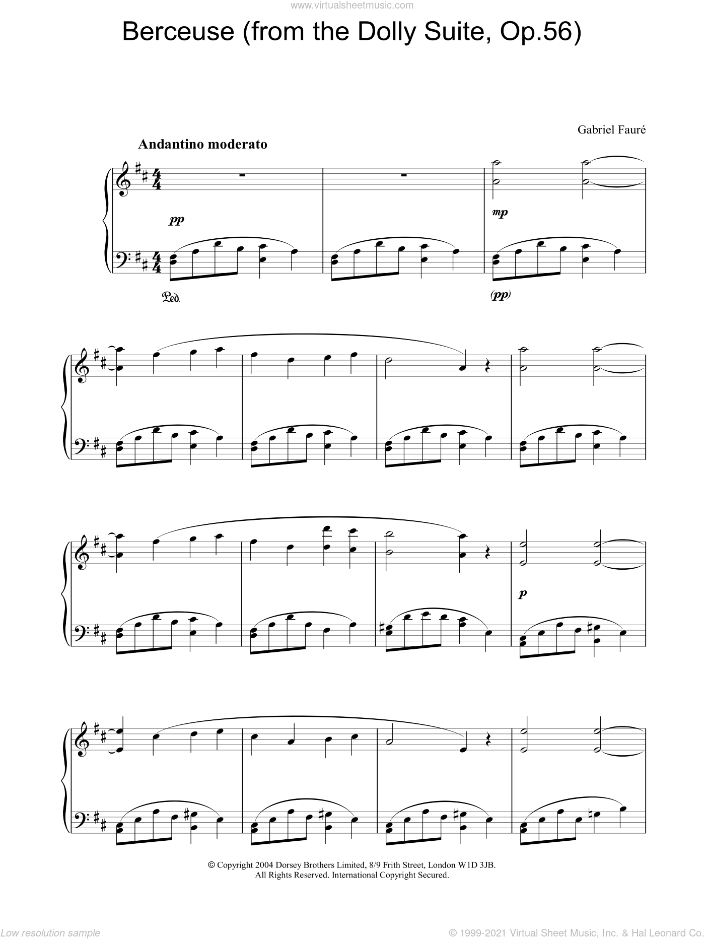 Berceuse (from the Dolly Suite, Op.56) sheet music for piano solo by Gabriel Faure. Score Image Preview.