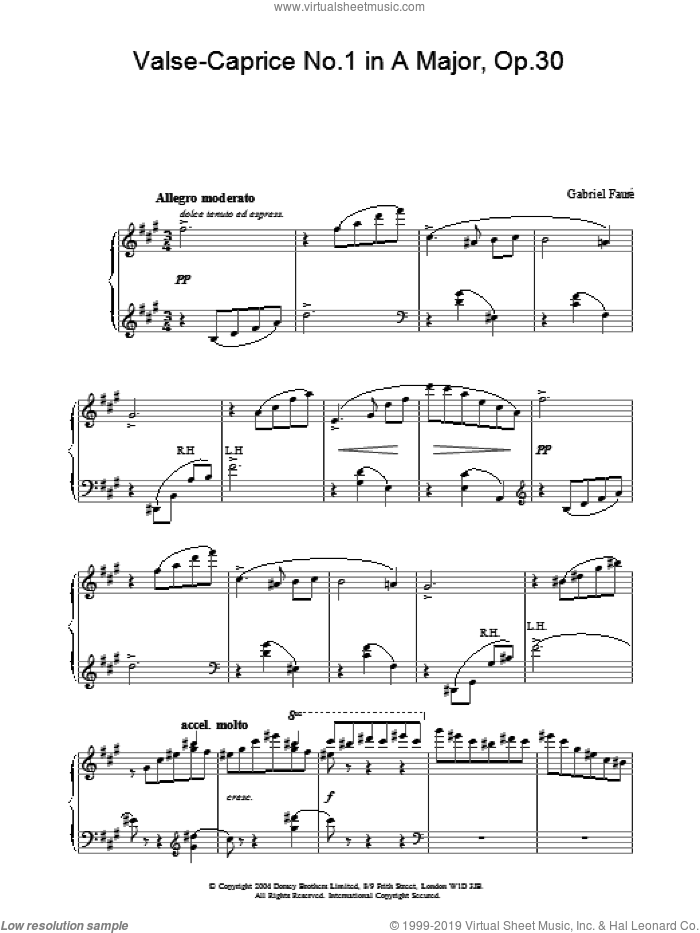 Valse-Caprice No.1 in A Major, Op.30 sheet music for piano solo by Gabriel Faure, classical score, intermediate skill level