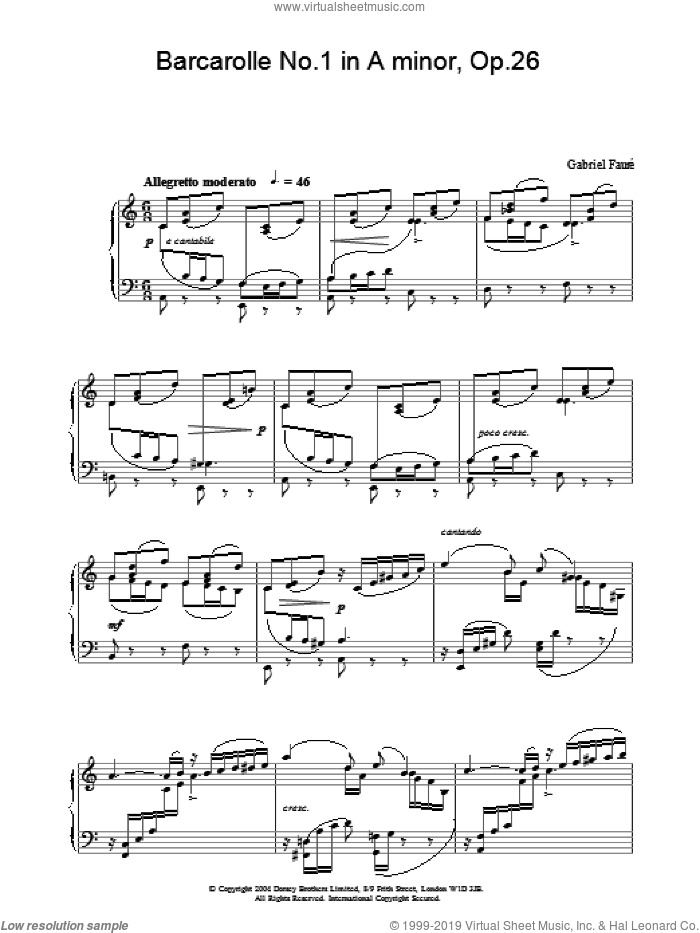 Barcarolle No.1 in A minor, Op.26 sheet music for piano solo by Gabriel Faure, classical score, intermediate skill level