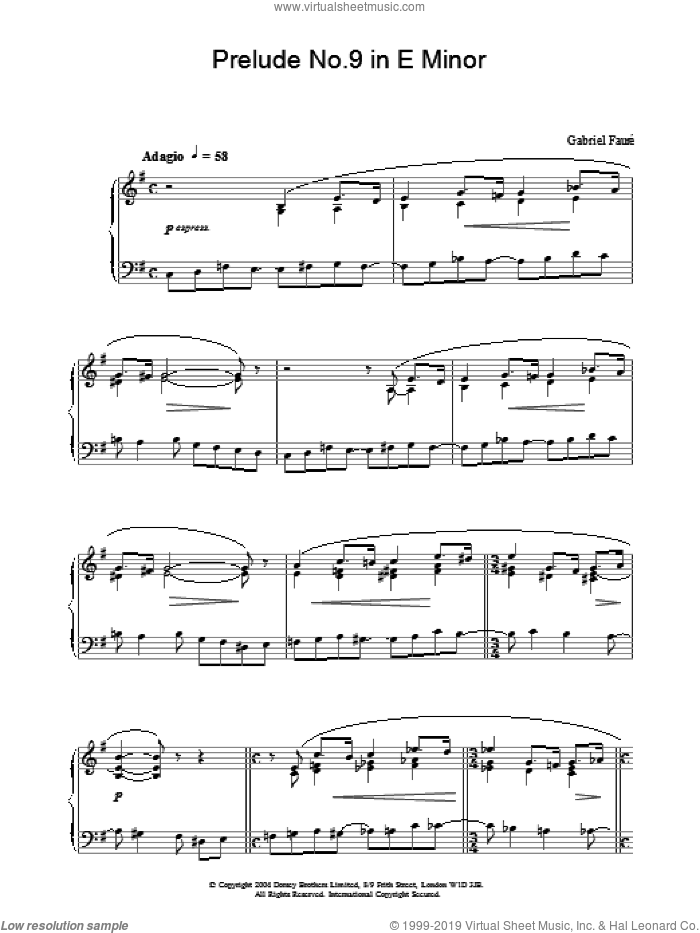 Prelude No.9 in E Minor sheet music for piano solo by Gabriel Faure. Score Image Preview.