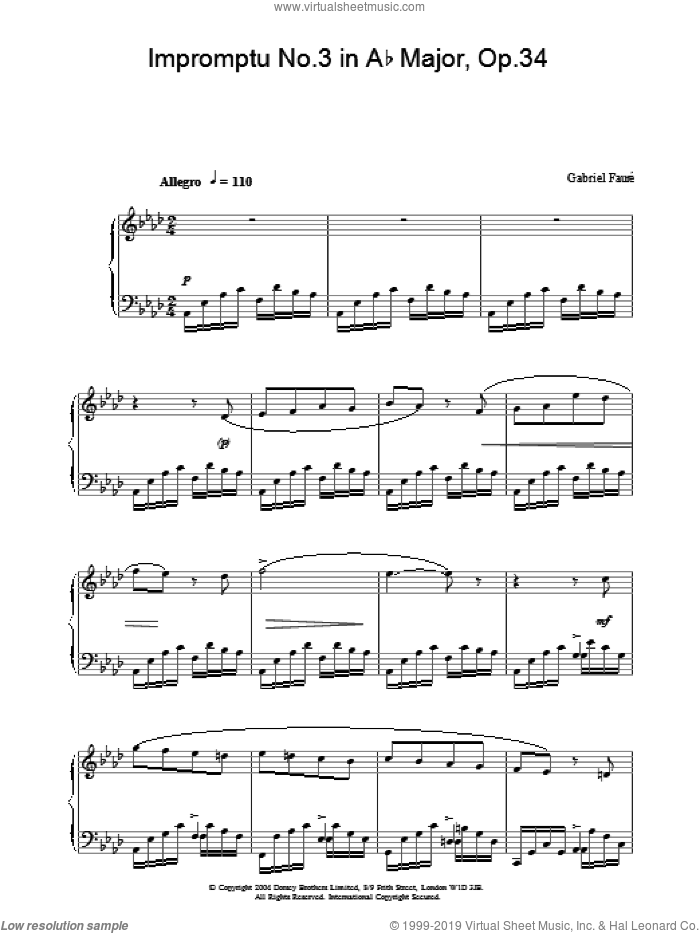 Impromptu No.3 in Ab Major, Op.34 sheet music for piano solo by Gabriel Faure, classical score, intermediate skill level