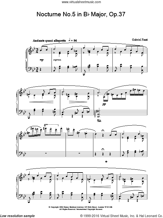 Nocturne No.5 in Bb Major, Op.37 sheet music for piano solo by Gabriel Faure. Score Image Preview.