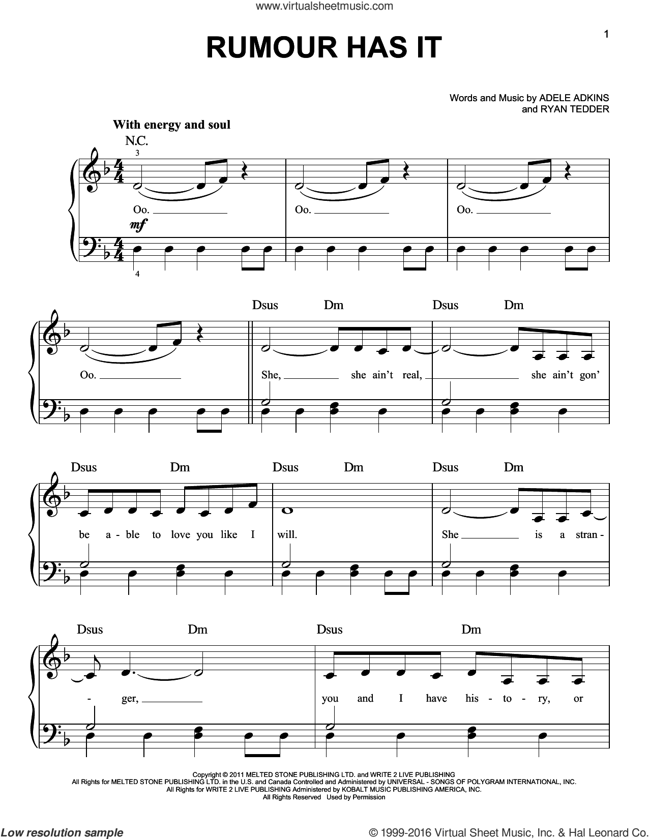 Rumour Has It sheet music for piano solo by Adele, Adele Adkins and Ryan Tedder, easy. Score Image Preview.