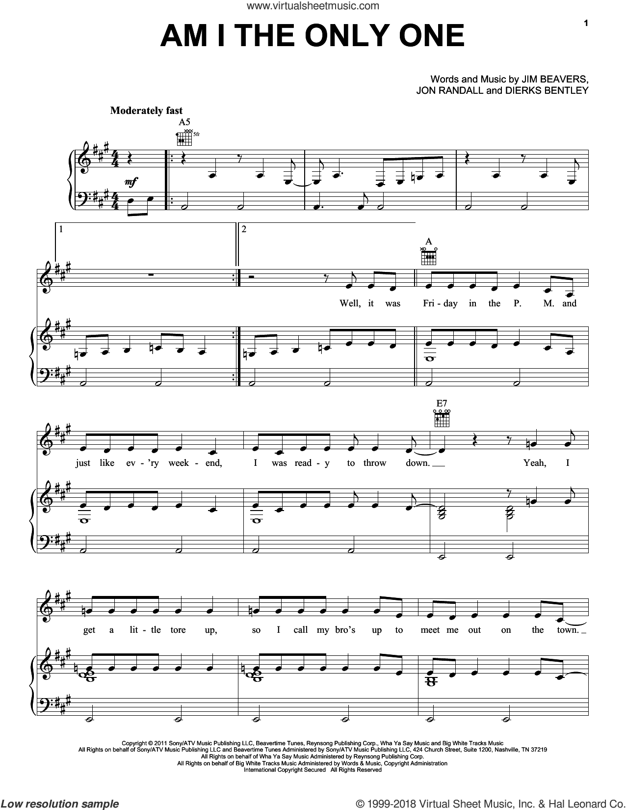 Am I The Only One sheet music for voice, piano or guitar by Dierks Bentley, Jim Beavers and Jon Randall, intermediate skill level
