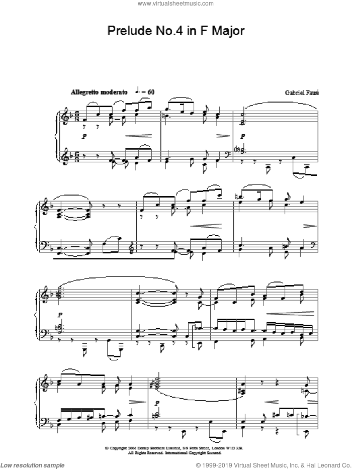 Prelude No.4 in F Major sheet music for piano solo by Gabriel Faure. Score Image Preview.