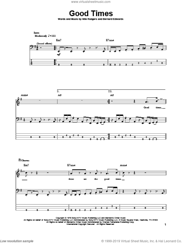 Good Times sheet music for bass (tablature) (bass guitar) by Chic, Bernard Edwards and Nile Rodgers, intermediate