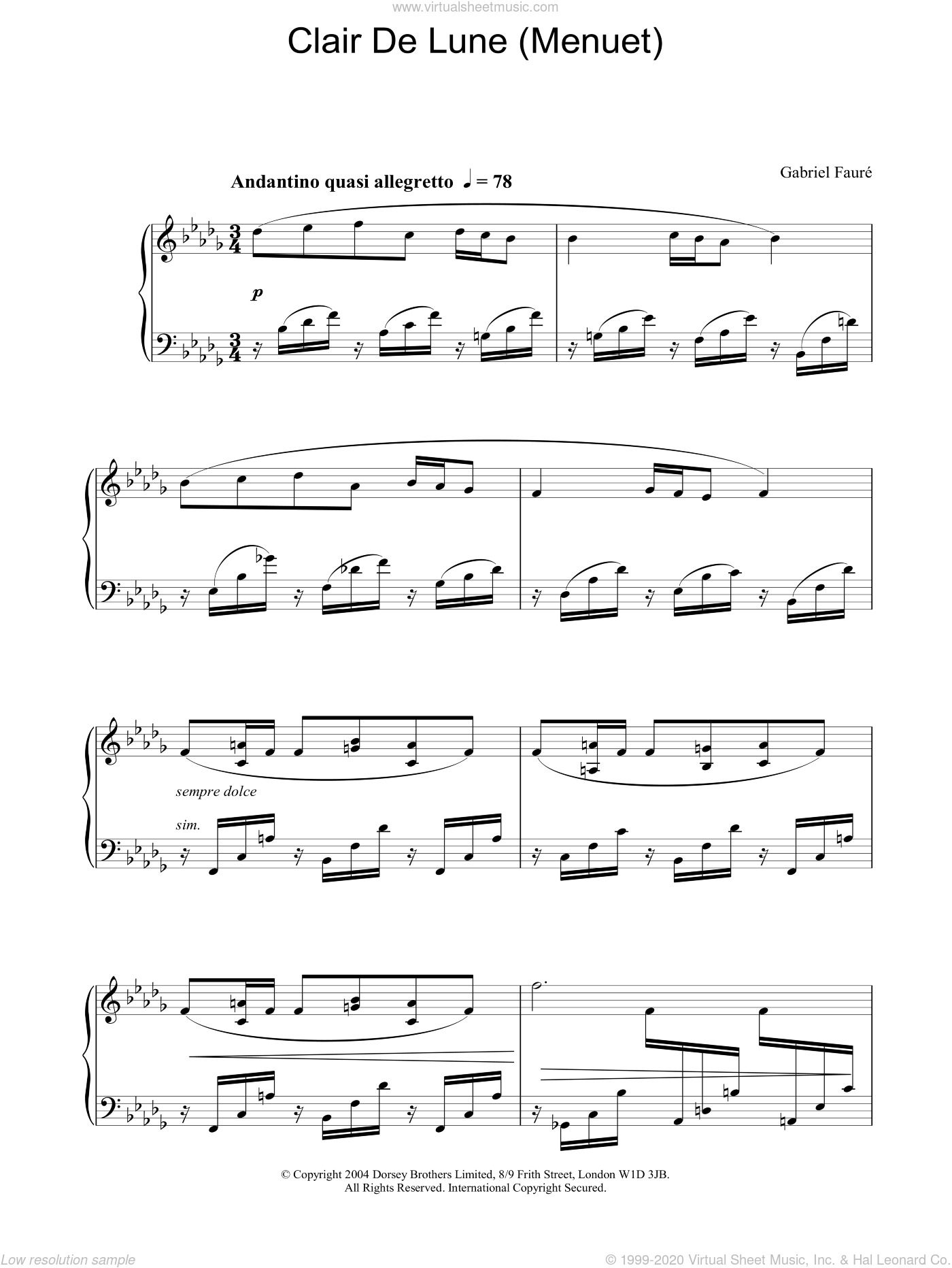 Clair de Lune (Menuet) sheet music for piano solo by Gabriel Faure