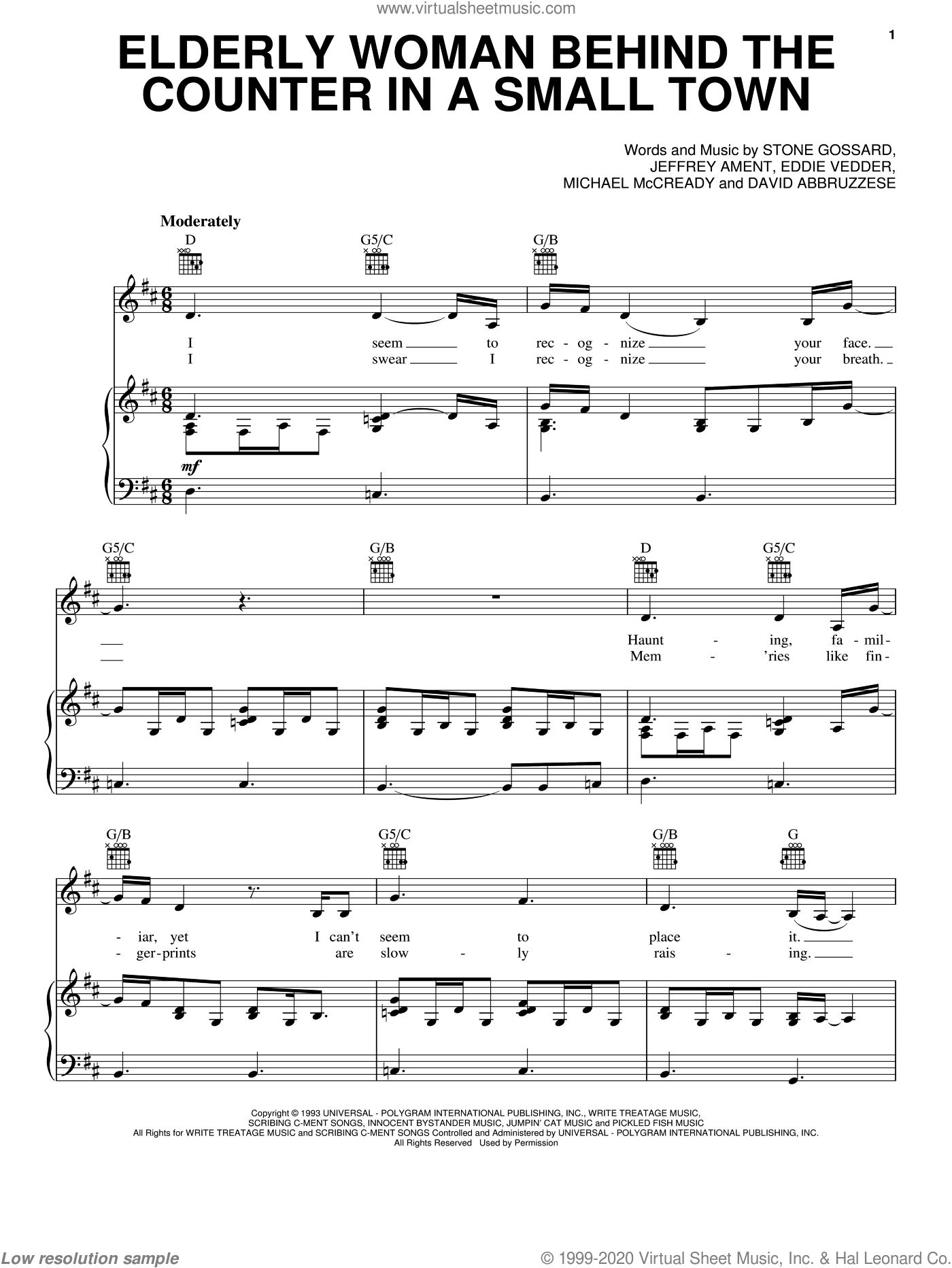 Elderly Woman Behind The Counter In A Small Town sheet music for voice, piano or guitar by Pearl Jam, David Abbruzzese, Eddie Vedder, Jeffrey Ament, Michael McCready and Stone Gossard, intermediate skill level