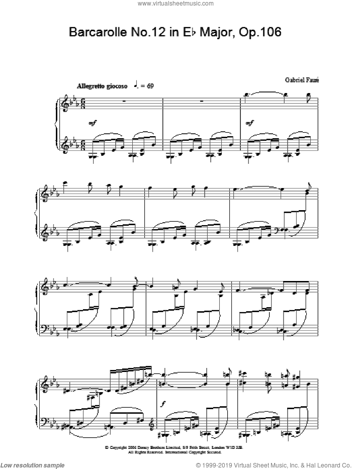 Barcarolle No.12 in Eb Major, Op.106 sheet music for piano solo by Gabriel Faure, classical score, intermediate skill level