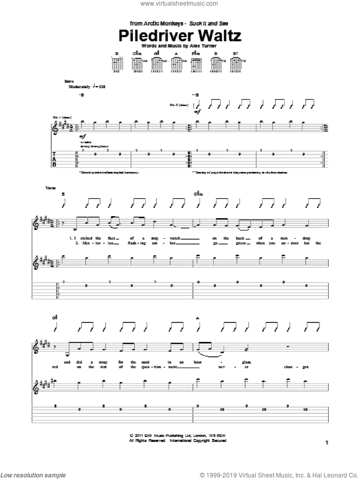 Piledriver Waltz sheet music for guitar (tablature) by Alex Turner and Arctic Monkeys. Score Image Preview.