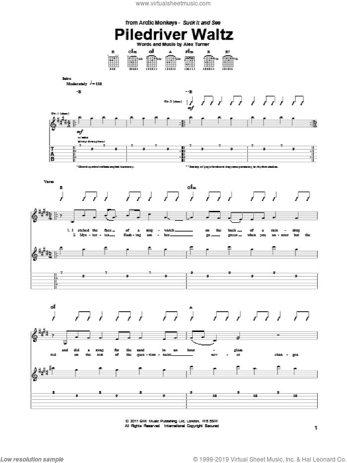 Piledriver Waltz sheet music for guitar (tablature) by Arctic Monkeys and Alex Turner, intermediate skill level