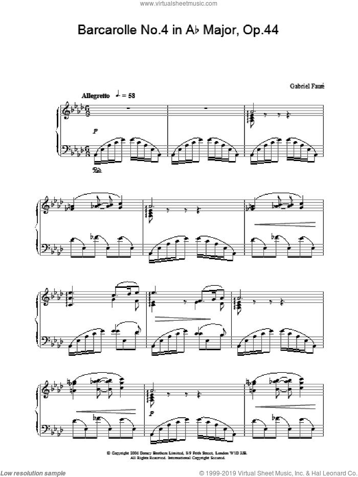Barcarolle No.4 in Ab Major, Op.44 sheet music for piano solo by Gabriel Faure. Score Image Preview.