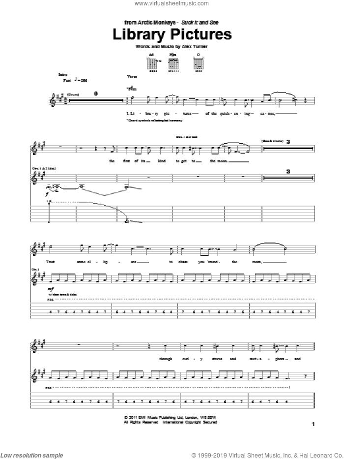 Library Pictures sheet music for guitar (tablature) by Alex Turner and Arctic Monkeys. Score Image Preview.