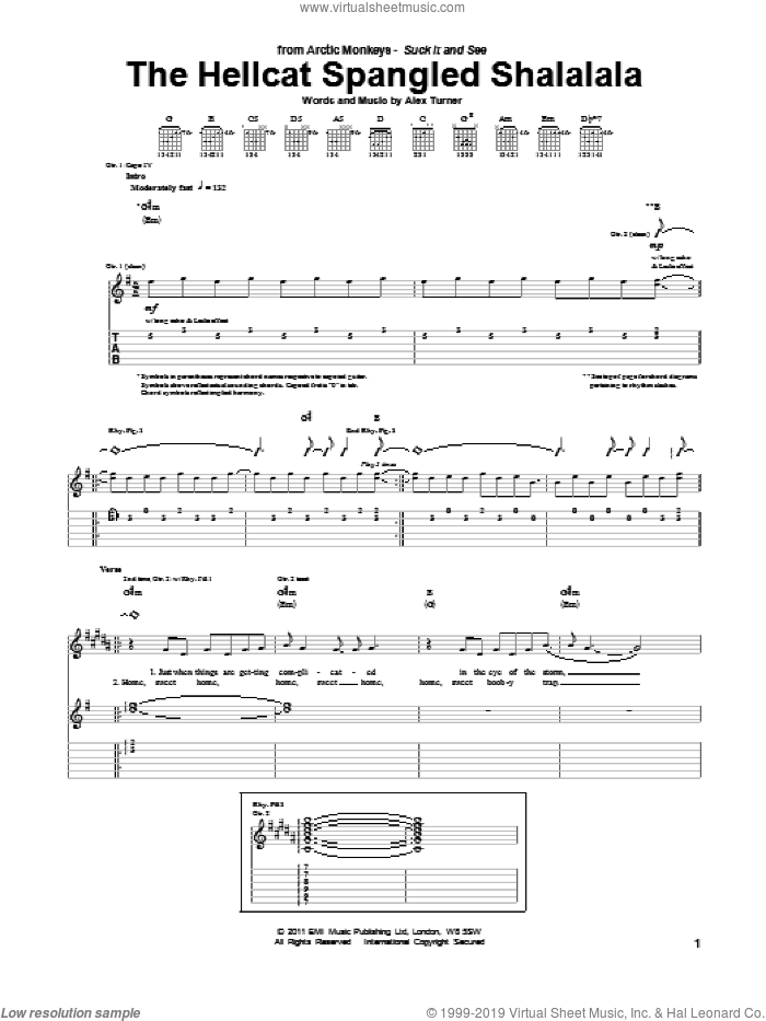 The Hellcat Spangled Shalalala sheet music for guitar (tablature) by Alex Turner and Arctic Monkeys. Score Image Preview.